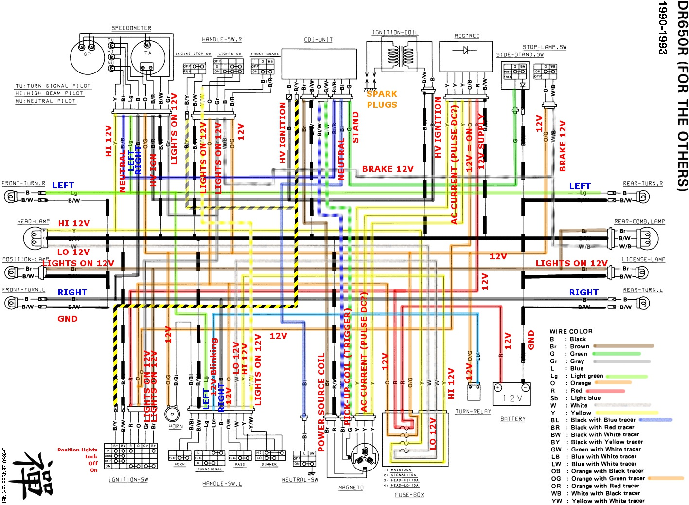 DR650wiring_color suzuki dr650 electrical page dr 50 midi moto wiring diagram at gsmx.co